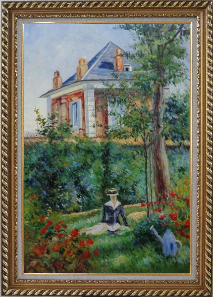 Framed Girl in the Garden at Bellevue, Edouard Manet Oil Painting France Impressionism Exquisite Gold Wood Frame 42 x 30 Inches