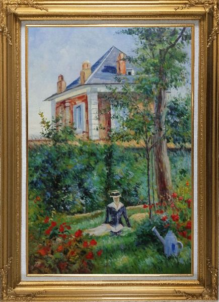 Framed Girl in the Garden at Bellevue, Edouard Manet Oil Painting France Impressionism Gold Wood Frame with Deco Corners 43 x 31 Inches