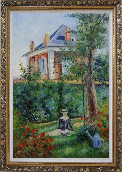 Framed Girl in the Garden at Bellevue, Edouard Manet Oil Painting France Impressionism Ornate Antique Dark Gold Wood Frame 42 x 30 Inches
