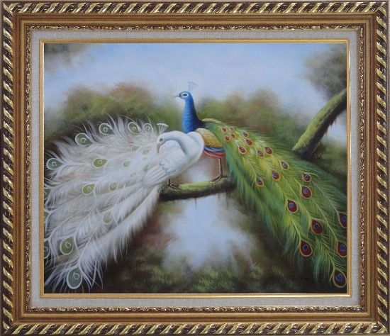 Framed Pair of White and Blue Peacocks in Forest Oil Painting Animal Naturalism Exquisite Gold Wood Frame 26 x 30 Inches