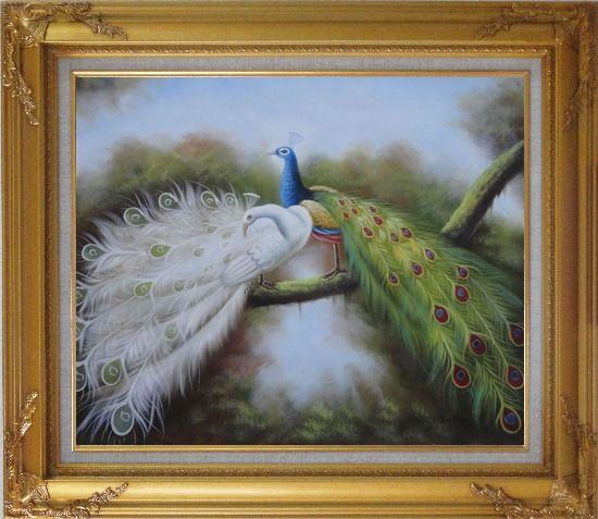 Framed Pair of White and Blue Peacocks in Forest Oil Painting Animal Naturalism Gold Wood Frame with Deco Corners 27 x 31 Inches