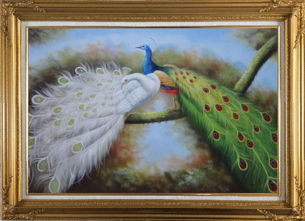 Framed Pair of White and Blue Peacocks in Forest Oil Painting Animal Naturalism Gold Wood Frame with Deco Corners 31 x 43 Inches