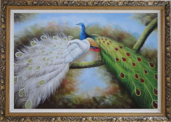 Framed Pair of White and Blue Peacocks in Forest Oil Painting Animal Naturalism Ornate Antique Dark Gold Wood Frame 30 x 42 Inches