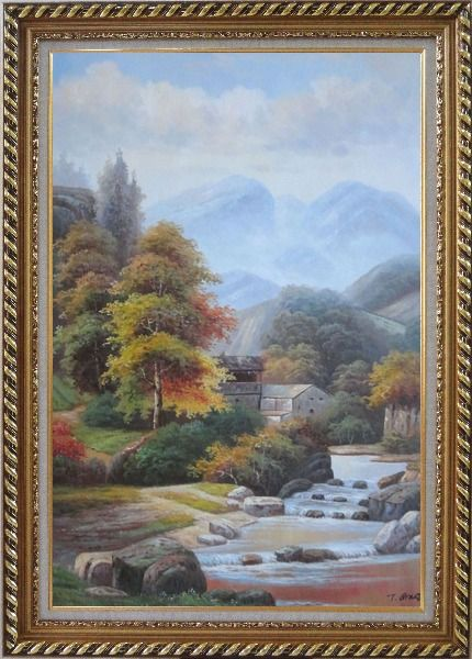 Framed Village House in Mountain Valley with Small Cascade Waterfall Autumn Scenery Oil Painting Landscape River Classic Exquisite Gold Wood Frame 42 x 30 Inches