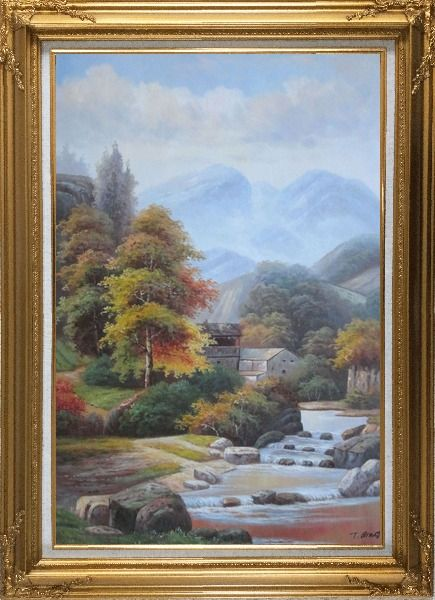 Framed Village House in Mountain Valley with Small Cascade Waterfall Autumn Scenery Oil Painting Landscape River Classic Gold Wood Frame with Deco Corners 43 x 31 Inches