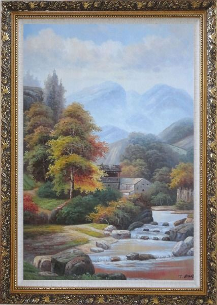 Framed Village House in Mountain Valley with Small Cascade Waterfall Autumn Scenery Oil Painting Landscape River Classic Ornate Antique Dark Gold Wood Frame 42 x 30 Inches