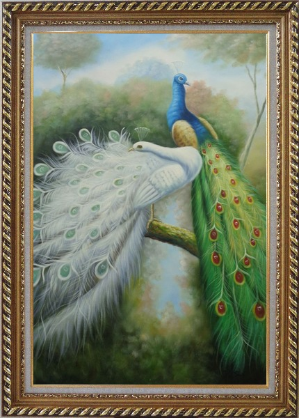 Framed Beautiful Blue and White Peacocks Oil Painting Animal Naturalism Exquisite Gold Wood Frame 42 x 30 Inches
