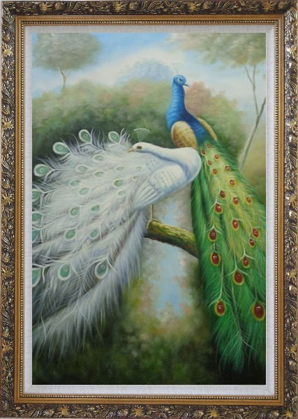 Framed Beautiful Blue and White Peacocks Oil Painting Animal Naturalism Ornate Antique Dark Gold Wood Frame 42 x 30 Inches