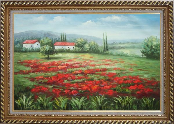 Framed Small Hut Surrounded by Poppies in Tuscany, Italy Oil Painting Landscape Field Impressionism Exquisite Gold Wood Frame 30 x 42 Inches