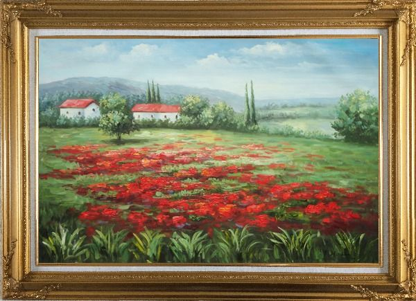 Framed Small Hut Surrounded by Poppies in Tuscany, Italy Oil Painting Landscape Field Impressionism Gold Wood Frame with Deco Corners 31 x 43 Inches