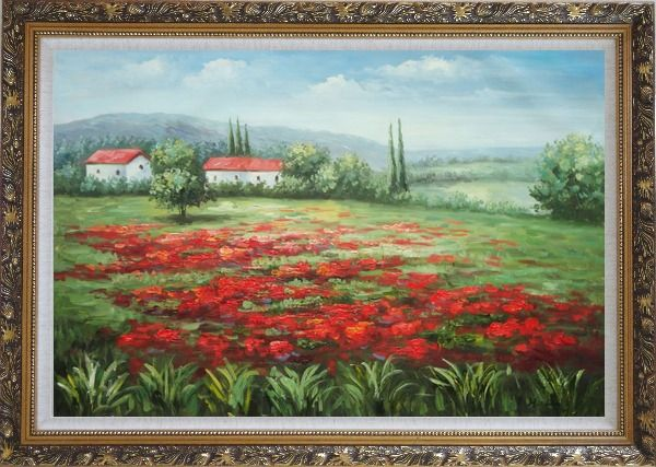 Framed Small Hut Surrounded by Poppies in Tuscany, Italy Oil Painting Landscape Field Impressionism Ornate Antique Dark Gold Wood Frame 30 x 42 Inches