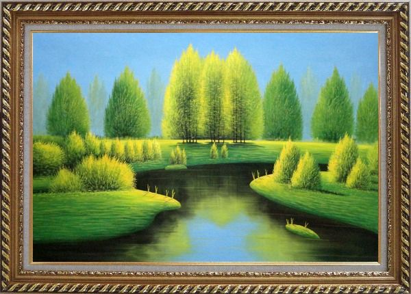 Framed Beautiful Green, Yellow Trees and River Landscape Oil Painting Naturalism Exquisite Gold Wood Frame 30 x 42 Inches