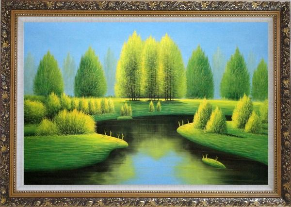 Framed Beautiful Green, Yellow Trees and River Landscape Oil Painting Naturalism Ornate Antique Dark Gold Wood Frame 30 x 42 Inches