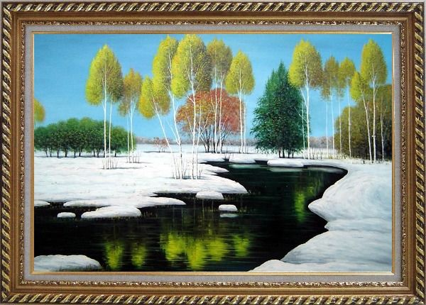 Framed Elegant Tree and Lake Landscape Oil Painting River Winter Naturalism Exquisite Gold Wood Frame 30 x 42 Inches