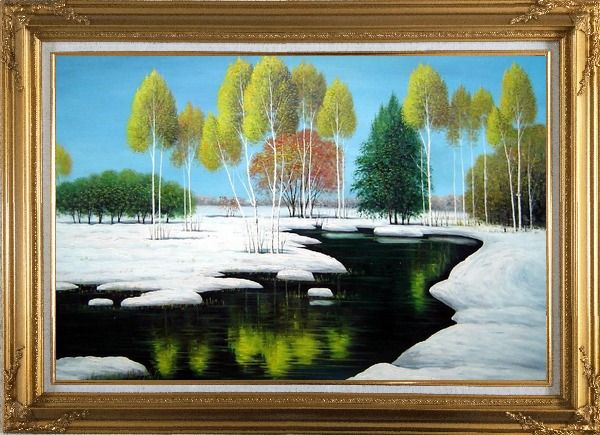 Framed Elegant Tree and Lake Landscape Oil Painting River Winter Naturalism Gold Wood Frame with Deco Corners 31 x 43 Inches
