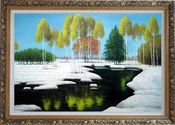 Framed Elegant Tree and Lake Landscape Oil Painting River Winter Naturalism Ornate Antique Dark Gold Wood Frame 30 x 42 Inches