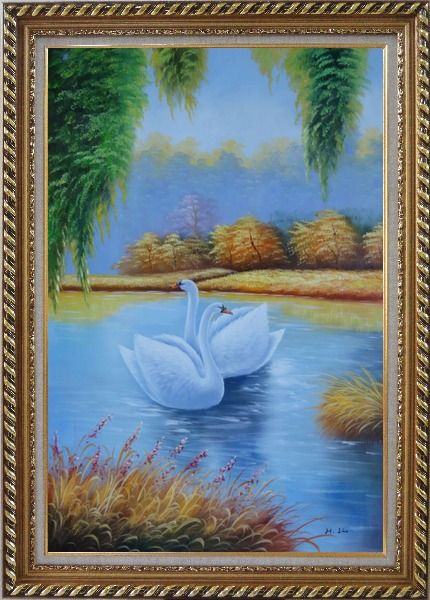 Framed Pair of Swans in Lake Oil Painting Animal Naturalism Exquisite Gold Wood Frame 42 x 30 Inches