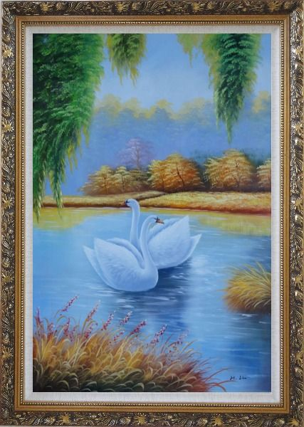 Framed Pair of Swans in Lake Oil Painting Animal Naturalism Ornate Antique Dark Gold Wood Frame 42 x 30 Inches
