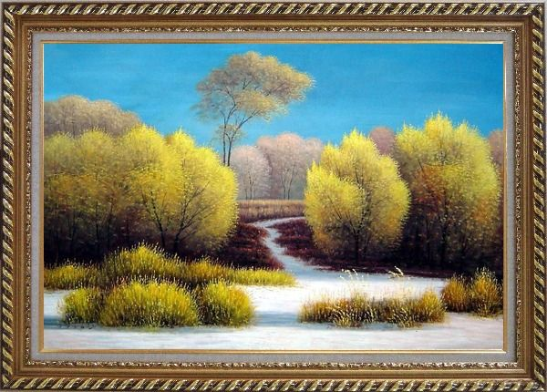 Framed Exceptional Landscape Oil Painting River Naturalism Exquisite Gold Wood Frame 30 x 42 Inches