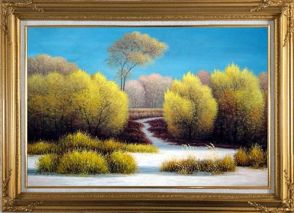 Framed Exceptional Landscape Oil Painting River Naturalism Gold Wood Frame with Deco Corners 31 x 43 Inches