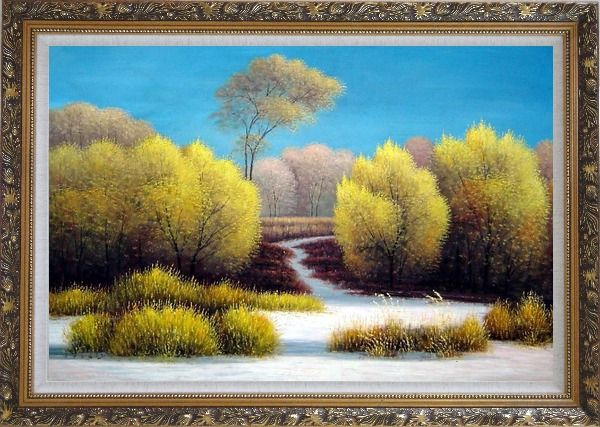 Framed Exceptional Landscape Oil Painting River Naturalism Ornate Antique Dark Gold Wood Frame 30 x 42 Inches