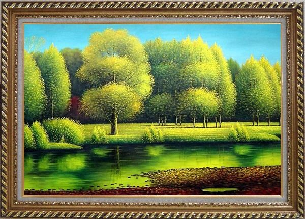 Framed Nature of Beauty Landscape Oil Painting River Naturalism Exquisite Gold Wood Frame 30 x 42 Inches