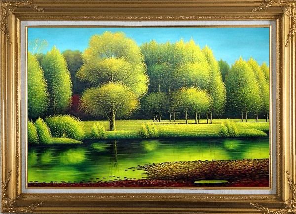 Framed Nature of Beauty Landscape Oil Painting River Naturalism Gold Wood Frame with Deco Corners 31 x 43 Inches