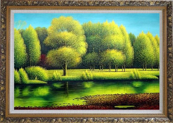 Framed Nature of Beauty Landscape Oil Painting River Naturalism Ornate Antique Dark Gold Wood Frame 30 x 42 Inches
