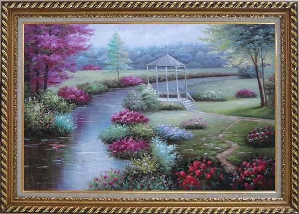 Framed Graceful Flower Garden at Riverside Oil Painting Landscape Naturalism Exquisite Gold Wood Frame 30 x 42 Inches