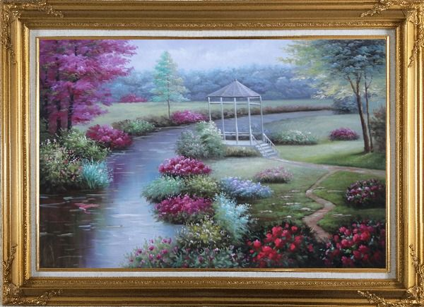 Framed Graceful Flower Garden at Riverside Oil Painting Landscape Naturalism Gold Wood Frame with Deco Corners 31 x 43 Inches