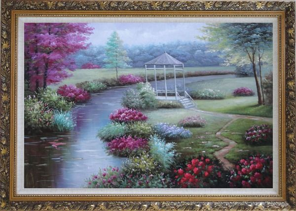 Framed Graceful Flower Garden at Riverside Oil Painting Landscape Naturalism Ornate Antique Dark Gold Wood Frame 30 x 42 Inches