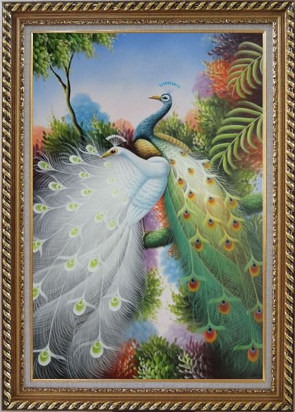 Framed Blue and White Peacocks with Beautiful Feathers Oil Painting Animal Naturalism Exquisite Gold Wood Frame 42 x 30 Inches