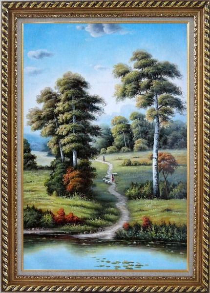 Framed Serene European Rustic Rural Landscape Oil Painting River Classic Exquisite Gold Wood Frame 42 x 30 Inches