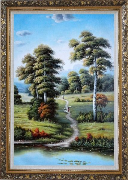 Framed Serene European Rustic Rural Landscape Oil Painting River Classic Ornate Antique Dark Gold Wood Frame 42 x 30 Inches