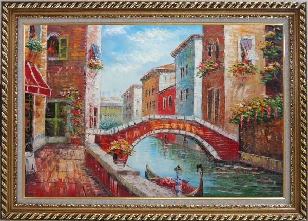 Framed Pleasant Noon Time At Tranquil Street of Venice Oil Painting Italy Impressionism Exquisite Gold Wood Frame 30 x 42 Inches