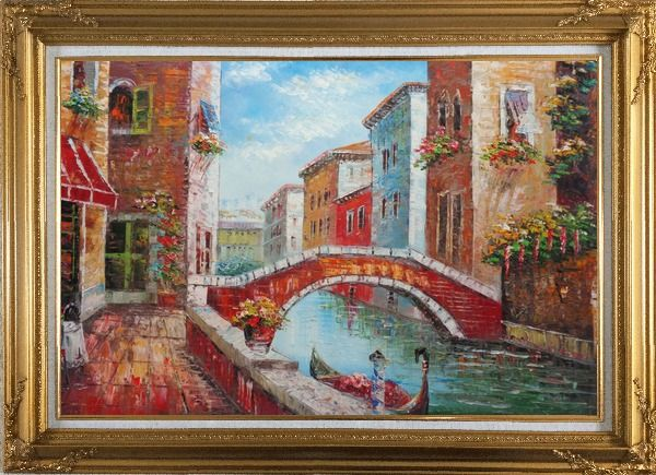 Framed Pleasant Noon Time At Tranquil Street of Venice Oil Painting Italy Impressionism Gold Wood Frame with Deco Corners 31 x 43 Inches