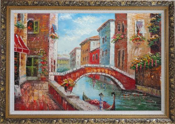 Framed Pleasant Noon Time At Tranquil Street of Venice Oil Painting Italy Impressionism Ornate Antique Dark Gold Wood Frame 30 x 42 Inches
