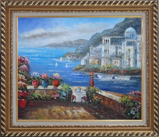 Framed Wonderful Mediterranean Retreat Overlook Sea Coast And Mountain Oil Painting Impressionism Exquisite Gold Wood Frame 26 x 30 Inches