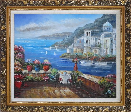 Framed Wonderful Mediterranean Retreat Overlook Sea Coast And Mountain Oil Painting Impressionism Ornate Antique Dark Gold Wood Frame 26 x 30 Inches