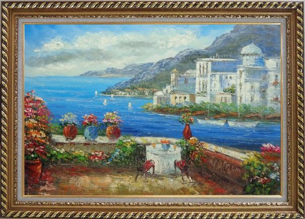 Framed Wonderful Mediterranean Retreat Overlook Sea Coast And Mountain Oil Painting Impressionism Exquisite Gold Wood Frame 30 x 42 Inches