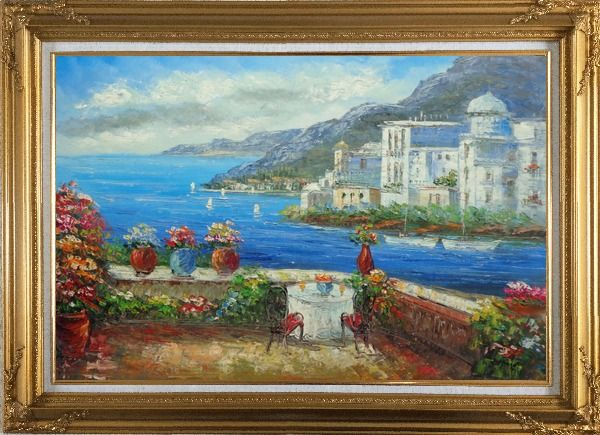 Framed Wonderful Mediterranean Retreat Overlook Sea Coast And Mountain Oil Painting Impressionism Gold Wood Frame with Deco Corners 31 x 43 Inches