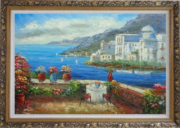Framed Wonderful Mediterranean Retreat Overlook Sea Coast And Mountain Oil Painting Impressionism Ornate Antique Dark Gold Wood Frame 30 x 42 Inches