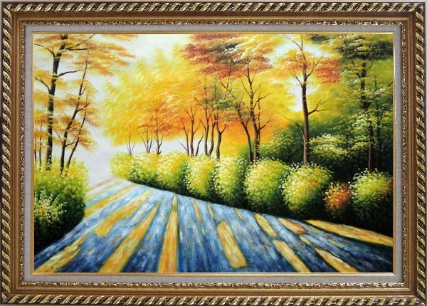 Framed Road in Golden Sunshine Oil Painting Landscape Tree Autumn Naturalism Exquisite Gold Wood Frame 30 x 42 Inches