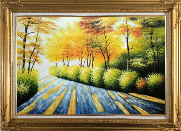 Framed Road in Golden Sunshine Oil Painting Landscape Tree Autumn Naturalism Gold Wood Frame with Deco Corners 31 x 43 Inches