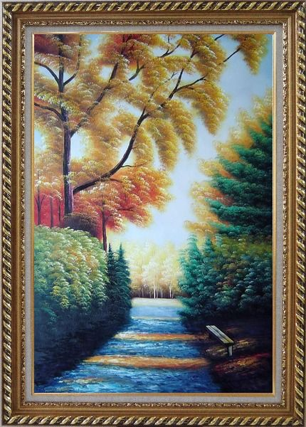 Framed A Path to Golden Yellow Forest Oil Painting Landscape Tree Naturalism Exquisite Gold Wood Frame 42 x 30 Inches