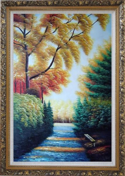 Framed A Path to Golden Yellow Forest Oil Painting Landscape Tree Naturalism Ornate Antique Dark Gold Wood Frame 42 x 30 Inches