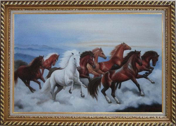 Framed Eight Horses Galloping in the Wild Oil Painting Animal Naturalism Exquisite Gold Wood Frame 30 x 42 Inches