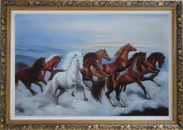 Framed Eight Horses Galloping in the Wild Oil Painting Animal Naturalism Ornate Antique Dark Gold Wood Frame 30 x 42 Inches