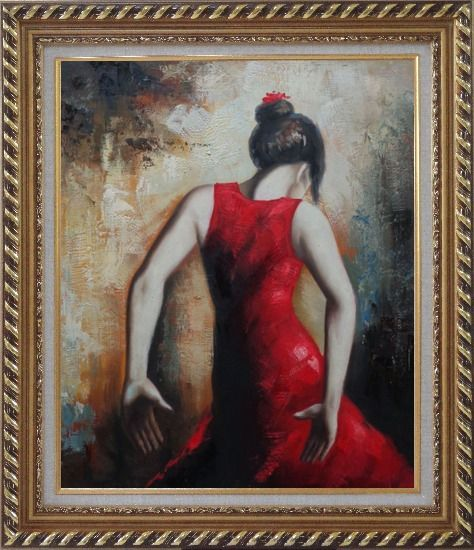 Framed Flamenco Beauty Oil Painting Portraits Woman Dancer Impressionism Exquisite Gold Wood Frame 30 x 26 Inches