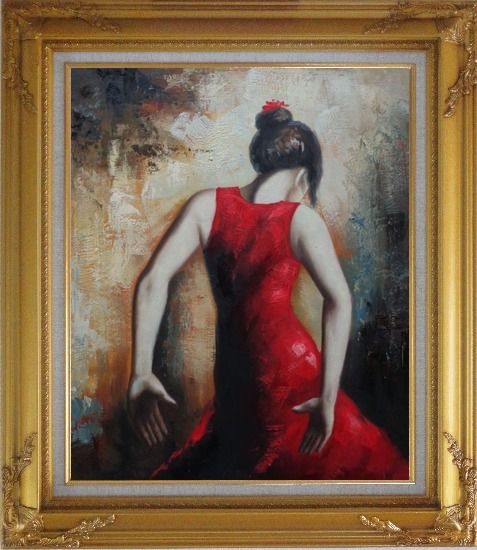 Framed Flamenco Beauty Oil Painting Portraits Woman Dancer Impressionism Gold Wood Frame with Deco Corners 31 x 27 Inches